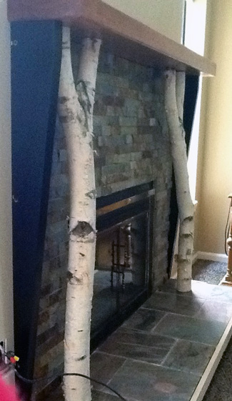 Birch logs supporting fireplace mantle