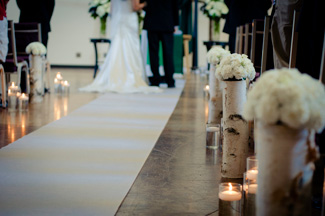 Wedding decorations using Birch Logs