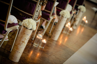 Birch Log wedding topiaries