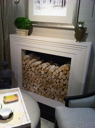 Modern Fireplace filled with Birch Logs
