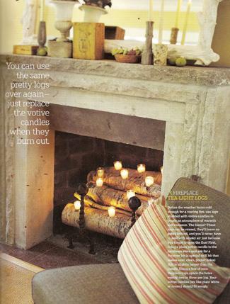 Birch Log Tealight Candle Fireplace Insert