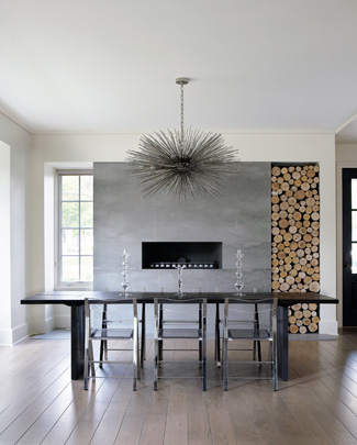 Stainless Steel Fireplace with Stacked Birch Logs